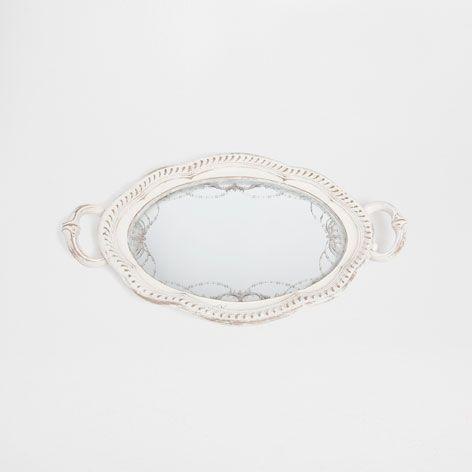 Bandeja Blanca Con Espejo   Bandejas   Mesa | Zara Home España