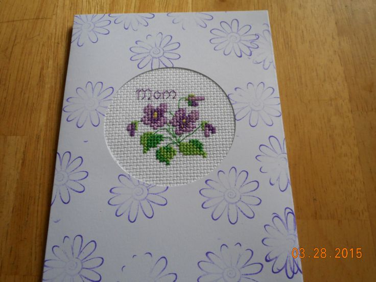 cross stitch MOM card available in my ebay store - Cards and Designs by Deb