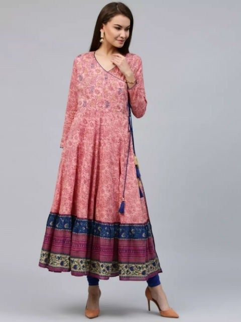 a331d4af949 Pink  Angrakha Style Embroidered Long Kurta with Gold Print Tassels ...
