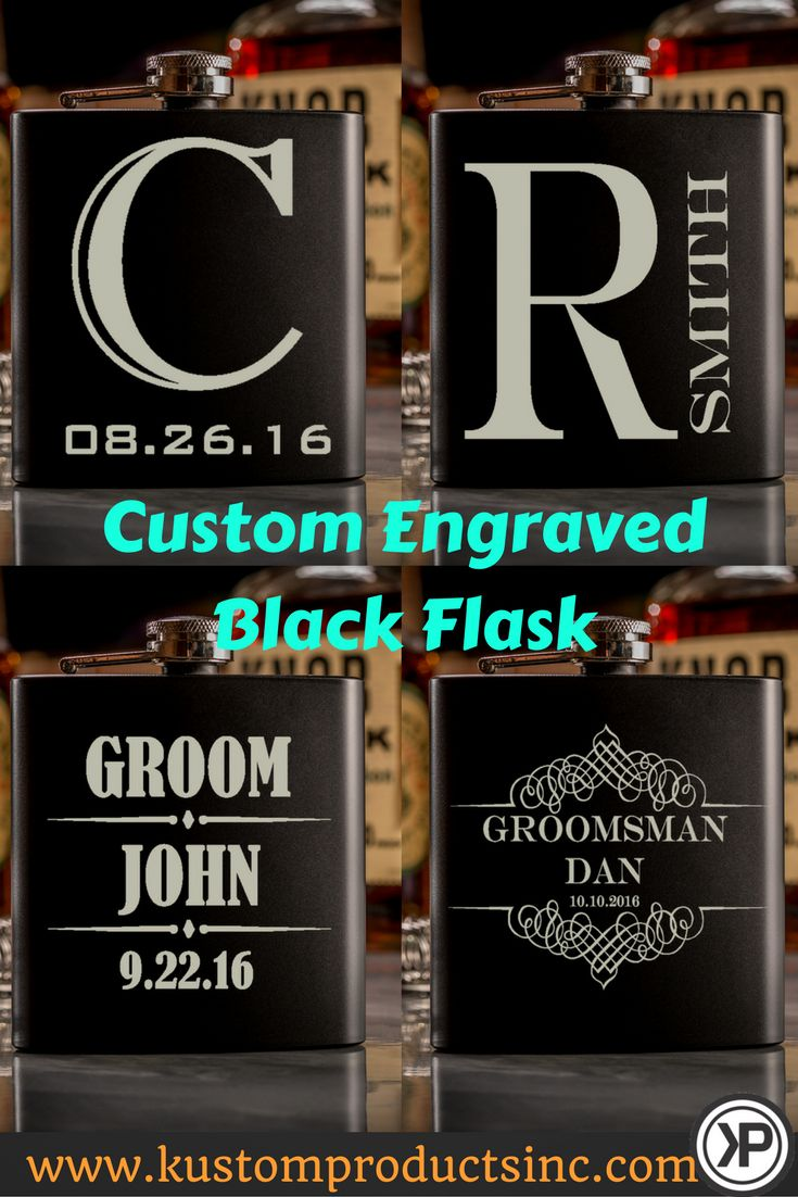 Custom Engraved Black Flask. Perfect gift for your Bridal Party! A wonderful personalized item that is great to receive anytime!