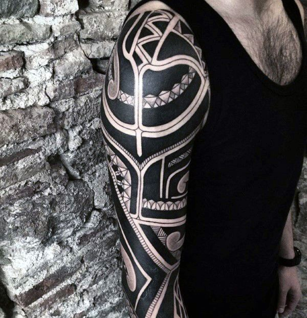cool mens badass tribal tattoos full arm sleeve design full and half sleeve tattoos. Black Bedroom Furniture Sets. Home Design Ideas