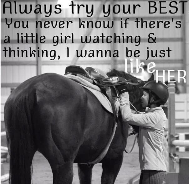 Equestrian role models. I've been on both sides. :) I'll never forget the little girl who came up to me once at a show and asked to pet my horse and talked with me about how she hoped to be a great rider someday. She inspired me as much as I inspired her.