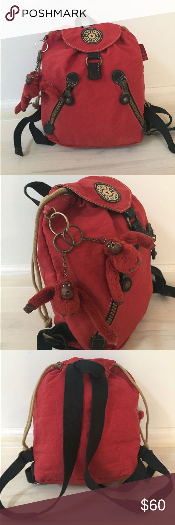 Kipling small red backpack. NWOT! 12 x 7 x 13   Three interior and exterior compartments perfect for traveling and hiking, with two red Kipling monkeys attached. Great for school box small laptops and can be used as an overnight bag or to add a pop of color to your outfit!  Bonus extra monkey included for a total of two! Kipling Bags Backpacks