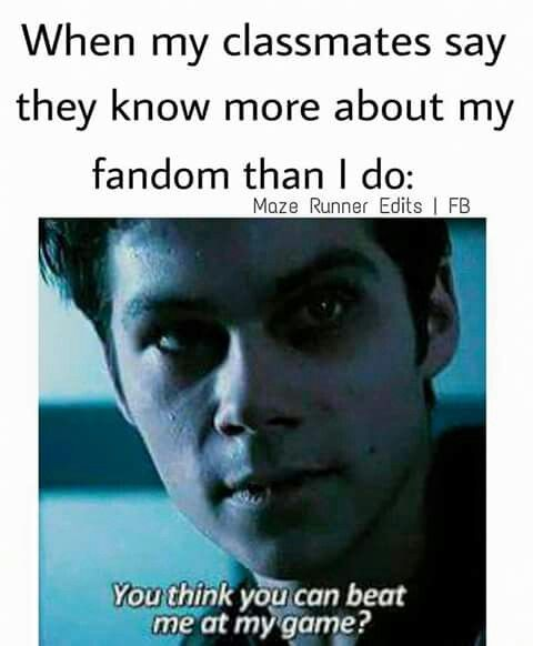 Mostly I just laugh like an insane murderer. Then they got scared and run away. Exept a few of my friends. They're in the fandom too.