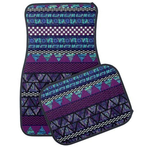 Deep Purple Aztec Stripes Pattern Car Floor Mats #zazzle #autoaccessories