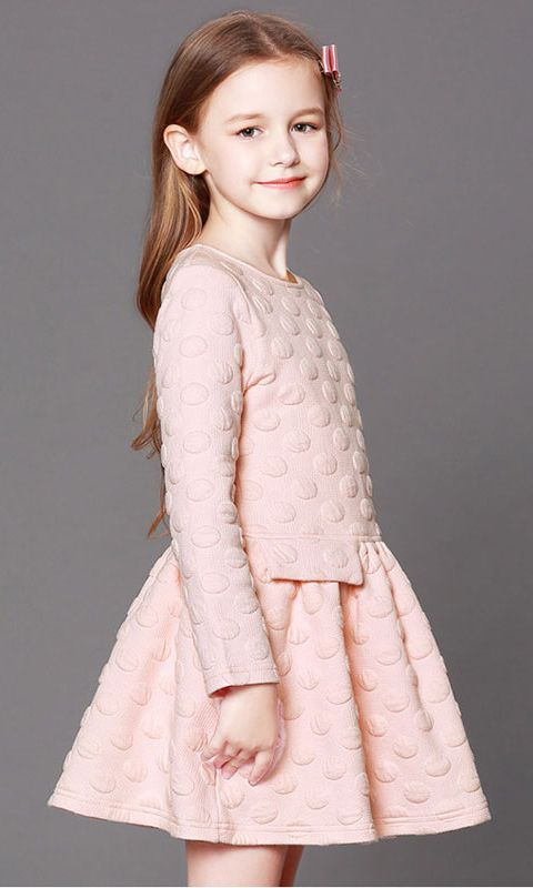 012e82b8c0d8 Girl Christmas Dress  Pink Pleated Long-Sleeve Mini Dress for Fall Winter.  Material  Polyester. Age  5 -13 Years Old  fw17  fallwinter2017   kidsclothes   ...