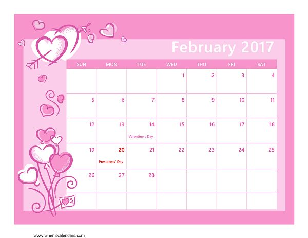 February 2017 Calendar Printable with Holidays Download free February 2017 Calendar Printable with Holidays Seasons Template with PDF and Image format available here. Expertly designed for download and print. Template: February 2017 Calendar Printable with Holidays Desription: February 2017 Calendar Printable with United States Federal Holidays, colorful template PDF and Image available. Image Size: 52 …