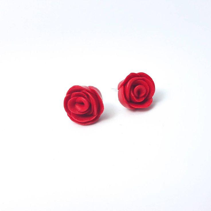 Rose Stud Earrings/ Polymer Clay Earrings/ Flower Earrings/ Stud earrings/ Red Rose /Red Earrings/ Cute Studs/ Polymer Clay Rose #myfimo #bystellakyriakou #etsy #polymerclayjewelry #handmade #handmadejewelry #jewelry #earrings #rosestudearrings #polymerclay #clayearrings #flowerearrings #studearrings #redrose #redearrings http://etsy.me/2oUYYZl