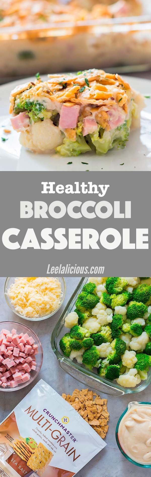 This creamy andHealthy Broccoli Casserole with ham is made with creamy cauliflower sauce. No cream or cans of cream soup whatsoever. A perfect healthy veggie-loaded dish to repurpose leftover ham. Recipe | Easy Dinners | Meal | Chicken | Vegetarian Option | Gluten Free | Clean Eating | Crunchmaster Crackers | Bake #broccoli #ham #casserole