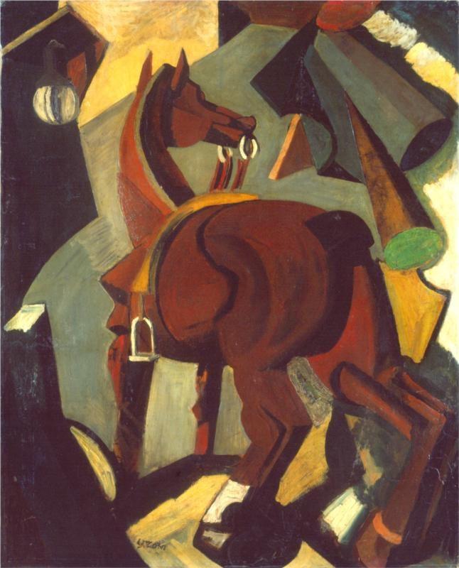 Saddled horse -Mario Sironi - by style - Cubism