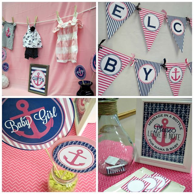 Dimple Prints Printable Nautical Baby Shower. Anchors, Pink U0026 Navy. Cute  Banners!