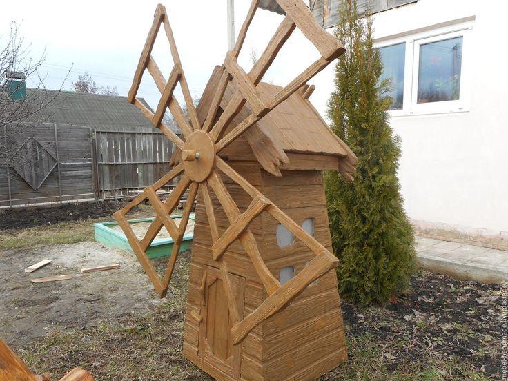 Купить Мельница декоративная - коричневый, для сада, дерево натуральное, Дерево ручной работы, браширование