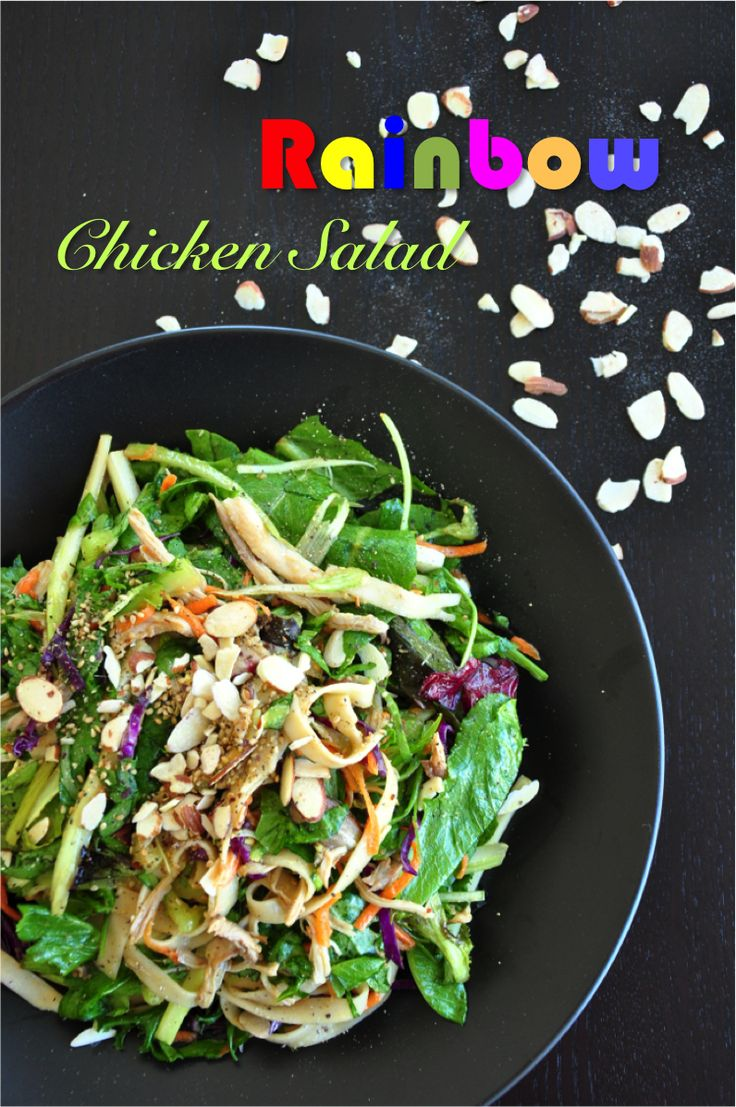 An easy chicken salad mixed with a very savory sauce that makes this healthy appetizer as colorful as a delightful rainbow! Get the recipe now! Read more at https://www.delishplan.com/rainbow-chicken-salad/