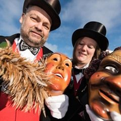 The Schwenningen Guild of Fools brush their fool's masks in Villengen-Schwenningen, Germany