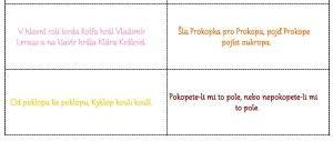 Nabídka 39 jazykolamů. Každý z nich barevně odlišen a na vlastní kartičce.