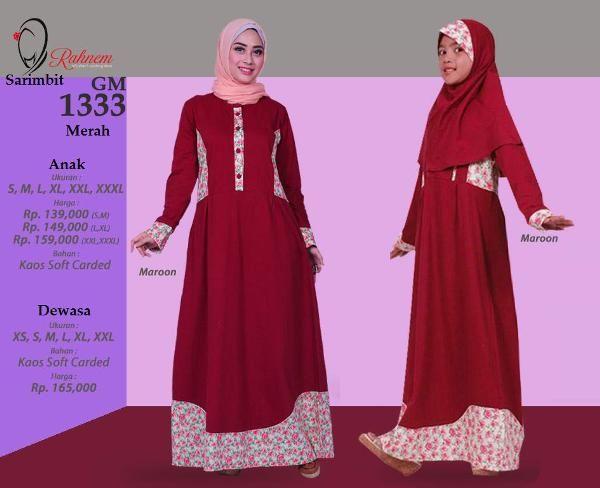 Jual beli Baju Sarimbit Gamis Rahnem Model GM1333 Merah - Promo Ramadhan Sale di Lapak Aprilia Wati - agenbajumuslim. Menjual Baju Muslim Couple - Baju Sarimbit Gamis Rahnem Model GM1333 Merah - Promo Ramadhan Sale Harga Rp. 324.000,-  Keterangan Kode : GM-1333 READY : ********* Merah (XL) ********* Ungu ( S,M,L,XL,XXL)  Pilihan Warna: UNGU & MERAH Bahan : Carded + Katun Harga : Rp 165.000,- Size : XS, S, M, L, XL, XXL  Rahnem Anak GH-1333 Kode : GH-1333 Warna : Merah & Ungu R...