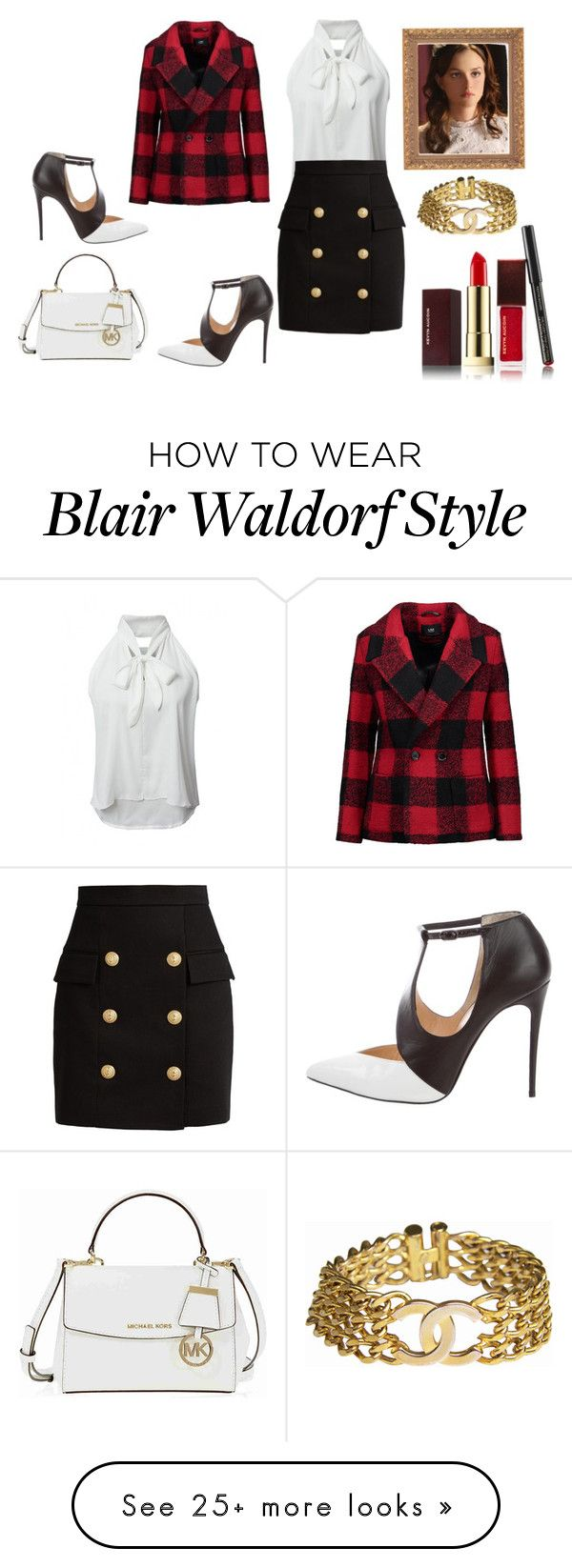 """""""what blair waldorf would wear"""" by lizzynupa on Polyvore featuring WithChic, Balmain, Christian Louboutin, Kevyn Aucoin, Michael Kors, Line, Chanel, gossipgirl, TV and blair"""