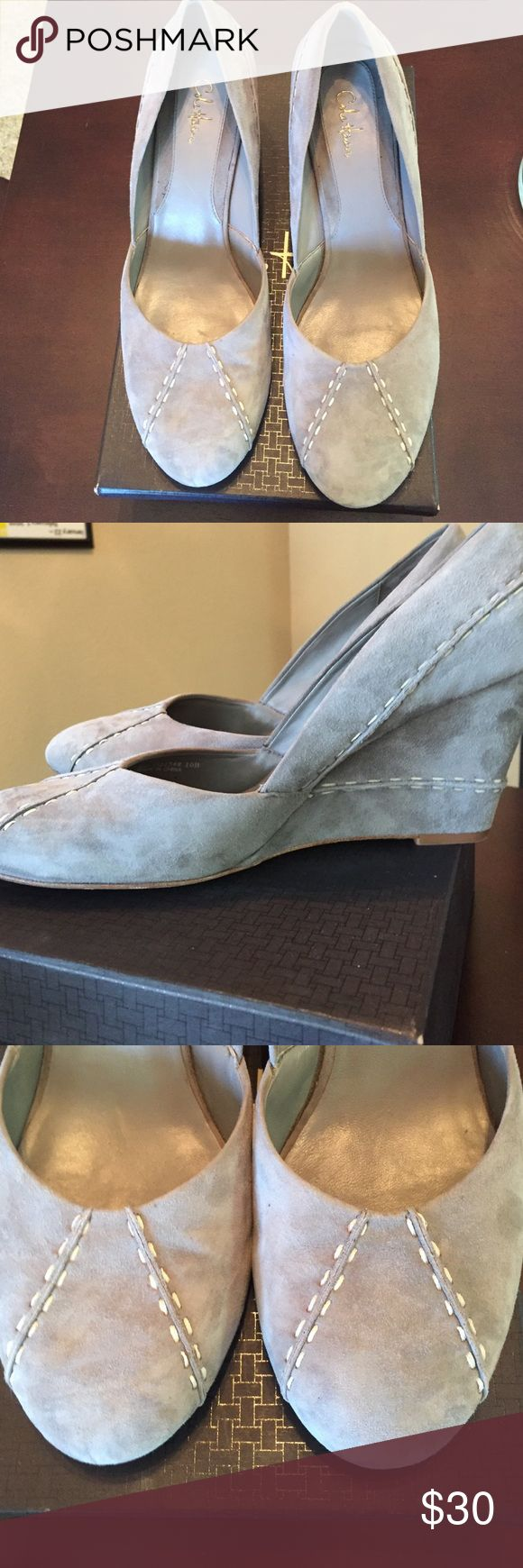 Cole Haan Trina Pump Gray Suede Cole Haan Trina Pump--Gray Suede Wedge Sz 10. Excellent condition, with original box and dust bag. Cole Haan Shoes Wedges
