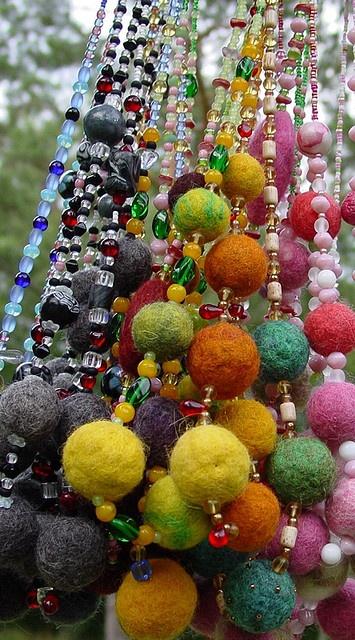 felt bead necklaces