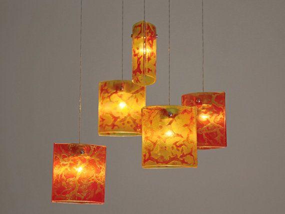 Fused glass pendant lights. Chandelier lighting hanging.