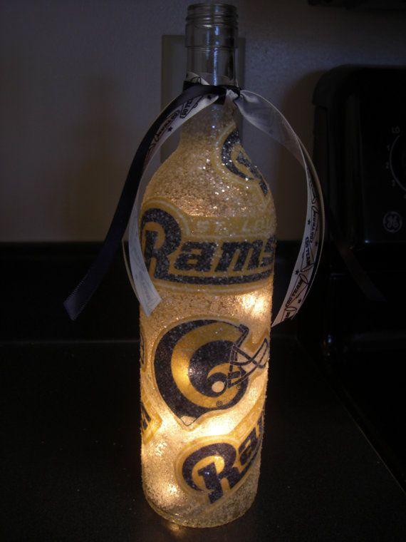 Handmade St. Louis Rams Lighted Wine Bottle