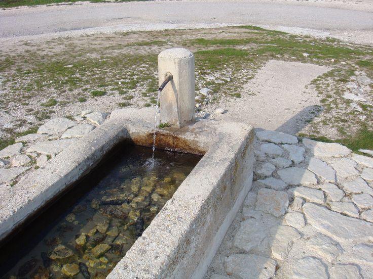 Una fontana in alta quota con l'abbeveratoio per i bovini.