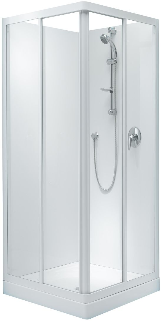 Englefield Sapphire Square Corner Sliding Shower square shower, double sliding doors, white frame, different sizing options, includes tray and liner. http://www.plumbin.co.nz/shop/showers/sapphire_corner_slide.html