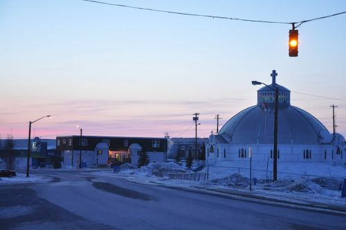 The Igloo Church at midnight in April.