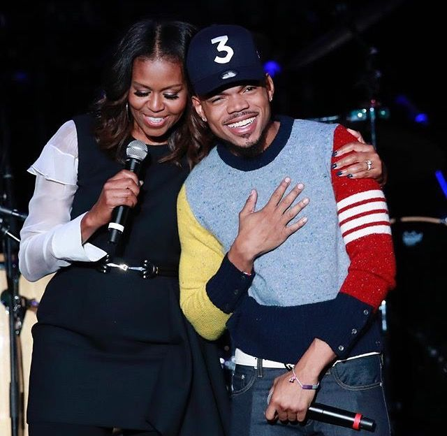 First Lady Michele Obama Introduced Her Husband 44th President Of The United States Of America Barack Obama On Stage With Chance the Rapper at the Obama Foundation Summit Last Day #Celebration #Concert  