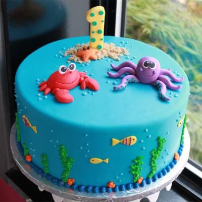 Love this Under The Sea Birthday Cake by #whippedbakeshop for $300.00 as pictured http://www.whippedbakeshop.com