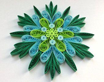 Flocon de neige sapin bleu vert décoration hiver ornements cadeaux Toppers charges bureau entreprise papier Quilling piquants Art fait à la main