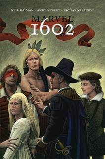 MARVEL 1602 by Neil Gaiman. A neat graphic novel re-imagining of the Marvel universe: Captain America, Nick Fury, Peter Parker, the Fantastic Four and many more all show up in the cut-throat and spy-tastic world of 1602 England.