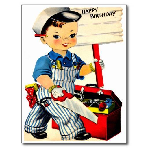 """De Timmerman van Little Boy - Retro Gelukkige Briefkaart van de Verjaardag De vintage Retro Kaarten van de Verjaardag voor alle leeftijden.   De grappige, Leuke, Gelukkige Kaarten van de Verjaardag voor kinderen, meisjes en jongens, mamma's en dads, grootmoeder en grootvader, broers en zusters, tantes en ooms, neven… en voor vrienden.  Alle kaarten zijn hersteld, de hersteld de smetten, vlekken en de scheur. Personaliseer als u door te gebruiken """"aanpast het"""" knoop dit wenst. Wij hopen u van…"""