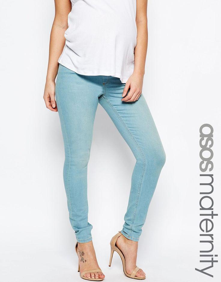 Изображение 1 из Зауженные джинсы цвета морской волны для беременных ASOS Maternity Lisbon