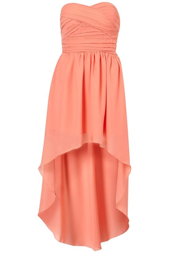 Coral Bandeau Bridesmaid Dress..i would like it better if the bottom was the same length