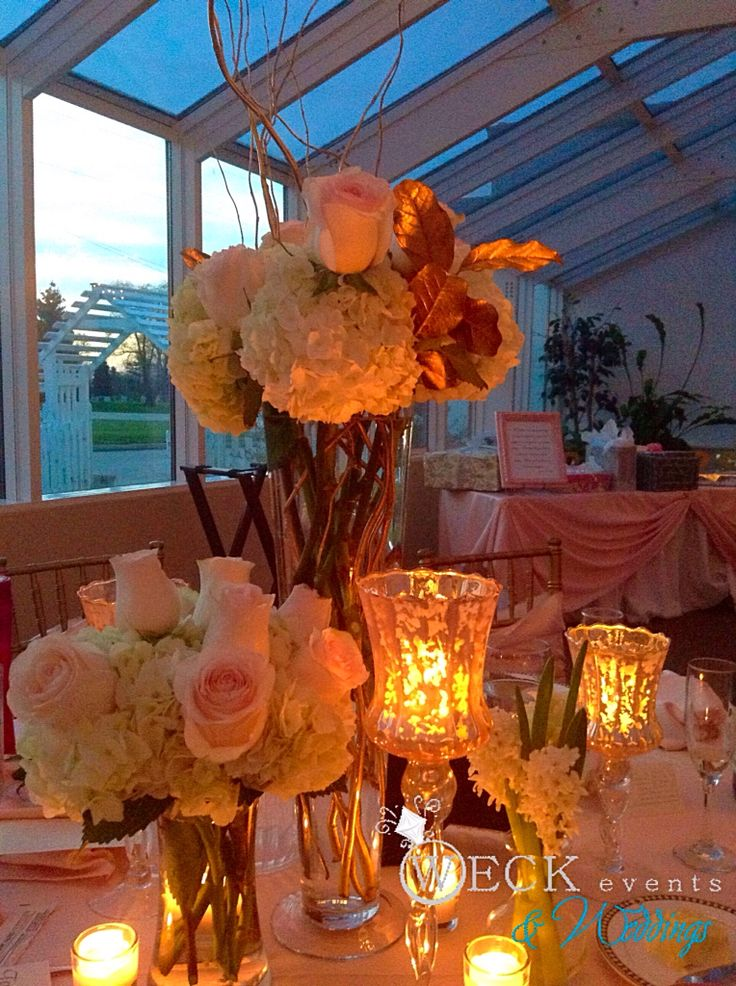 Romantic centerpiece - blush and gold and lots of candles!
