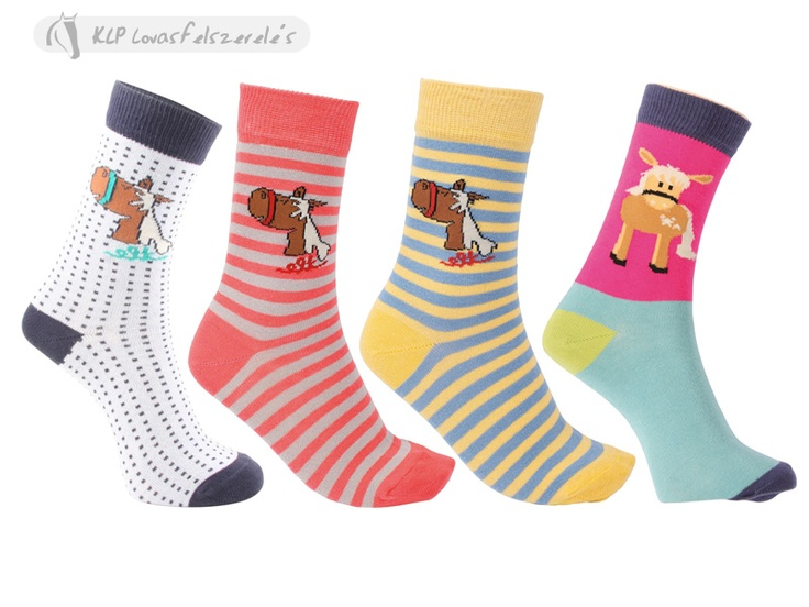 Kids Socks - Cute striped socks with pony motives.80 % cotton, 15 % elasthan, 5 % polyamid.Washable in washmachine on 30 C.