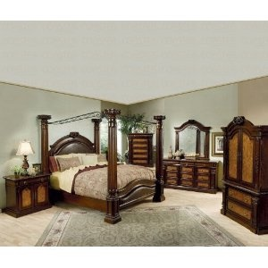 Montecito II Eastern King Bedroom 5PC Set: Includes King Size Bed, Dresser & Mirror, Chest & Nightstand