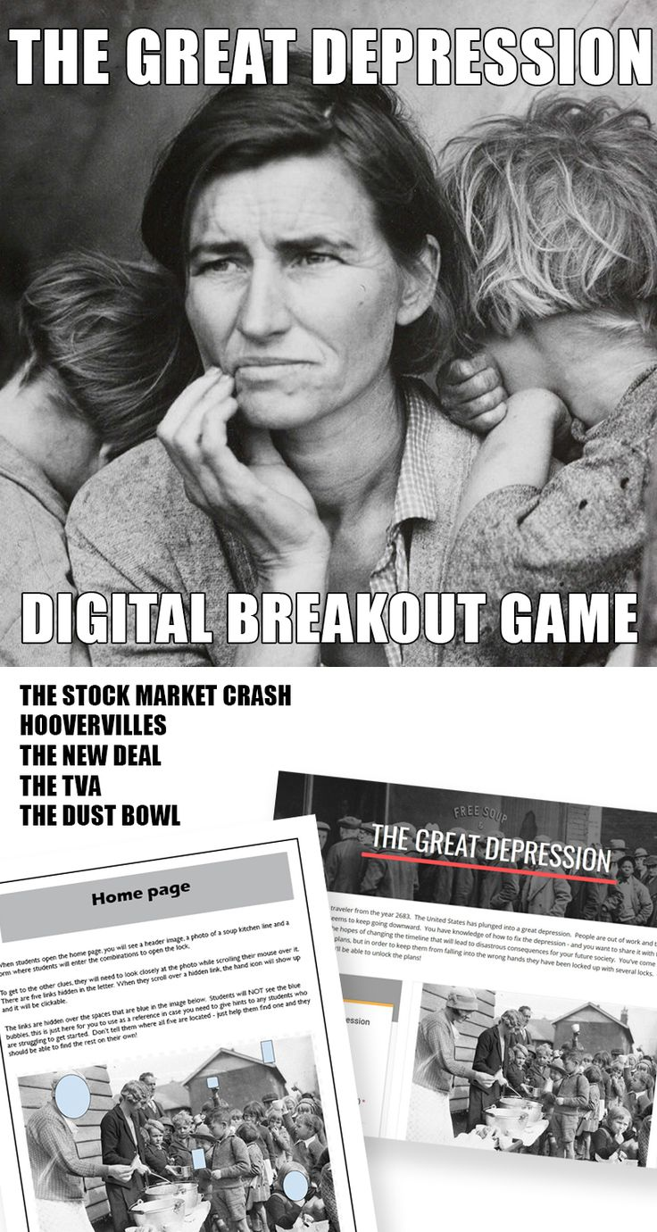 All of the fun of a breakout game with none of the equipment or planning  time!  You just need Internet access and enough devices for your  students to work individually or in small groups. Great as an 'appetizer' or a review for the Great Depression, this breakout looks at: the stock market crash the dust bowl the New Deal the TVA Hoovervilles