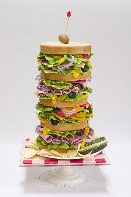 Yep, that's CAKE!!  OhWOWSER!!  Dagwood Sandwich Cake by studiocake, via Flickr