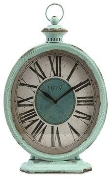 Vintage Chic Teal Metal Table Clock traditional-desk-and-mantel-clocks