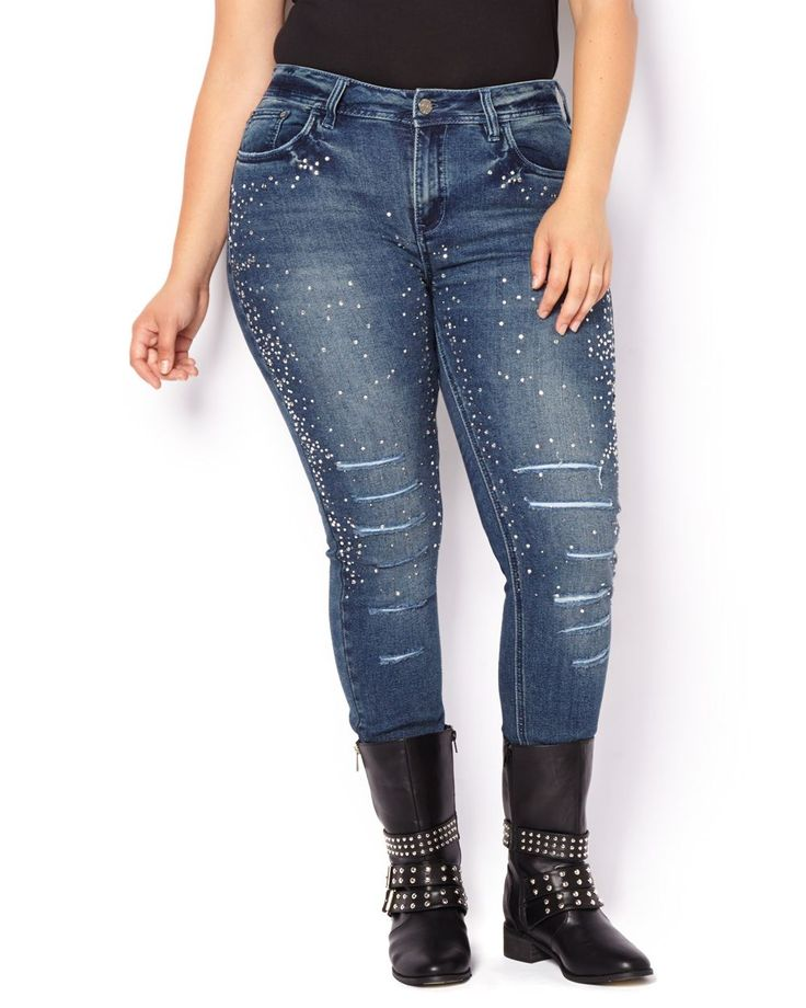 mblm Ripped Jeans With Rhinestonesmblm Ripped Jeans With Rhinestones