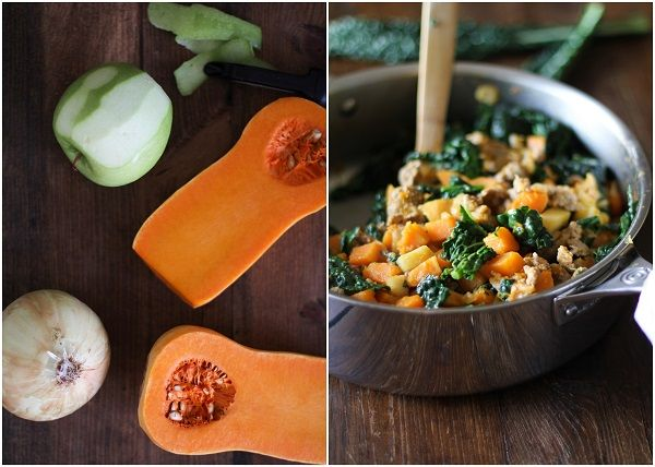 Butternut Squash Hash with Apples, Sausage, and Kale #paleo #breakfast