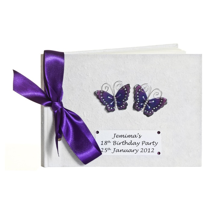 Personalised Purple Butterfly Birthday Guest Book. £24.95, via Etsy.