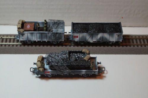 Roco Liliput Set Of Ww2 Winter Camo Wehrmacht Wagons Scale