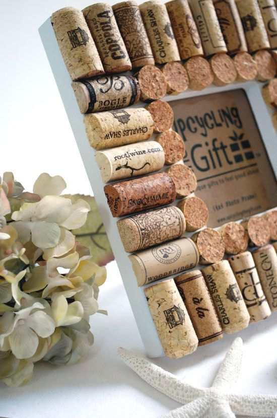 Wine Bottle Cork Frame 4x4 photo by upcyclingthegift on Etsy, $24.00