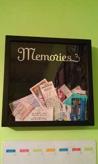 """Ticket stub """"Memories"""" shadowbox...great gift idea to save all of those ticket stubs!"""