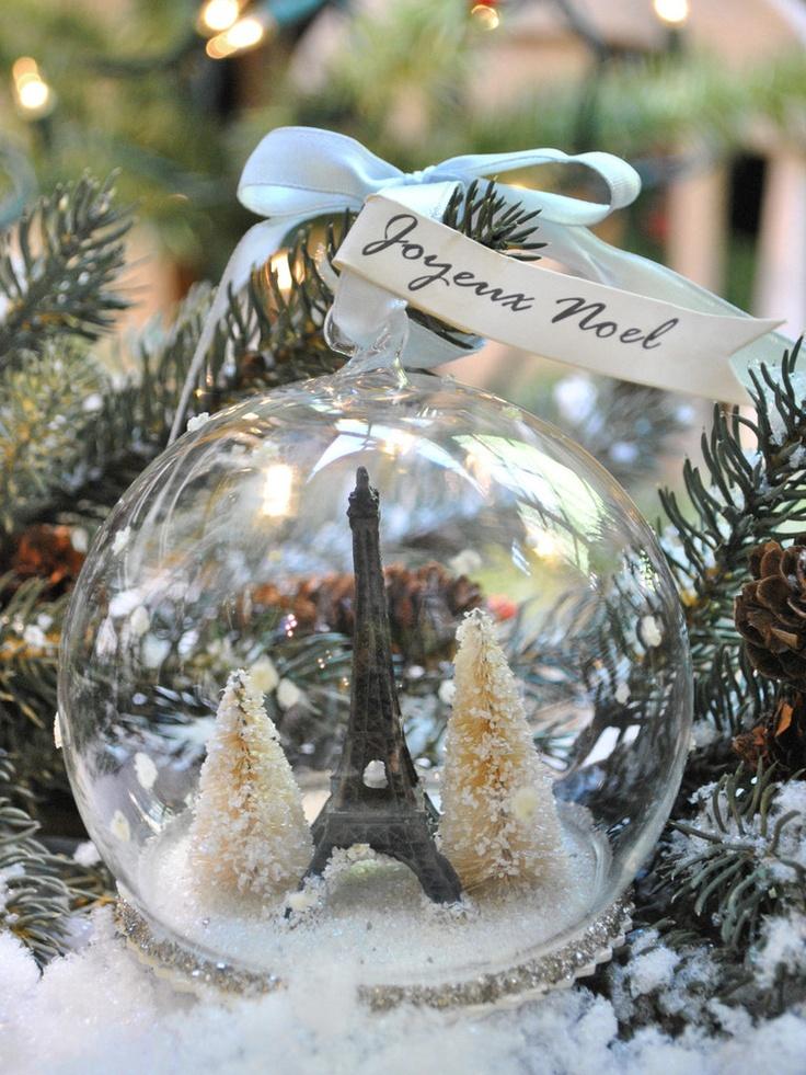 Eiffel Tower Snow Globe Ornament French Christmas Ornaments