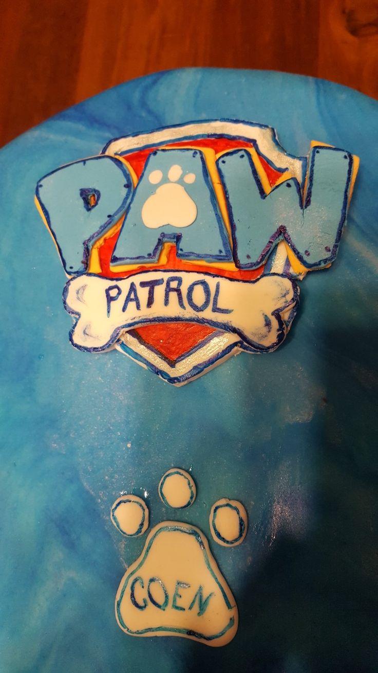 Homemade Paw Patrol fondant cake topper.