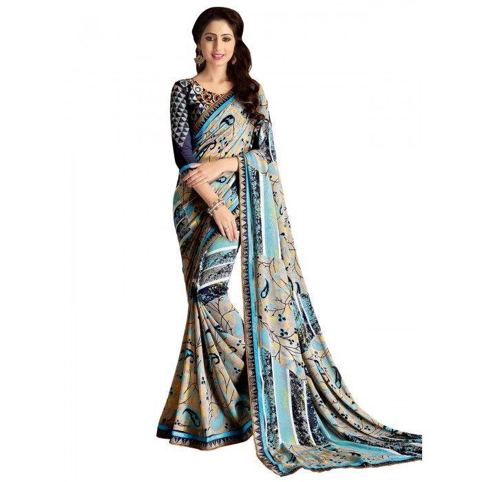 Classic Aque Blue & Grey Printed Saree on SmartDeals4u.com